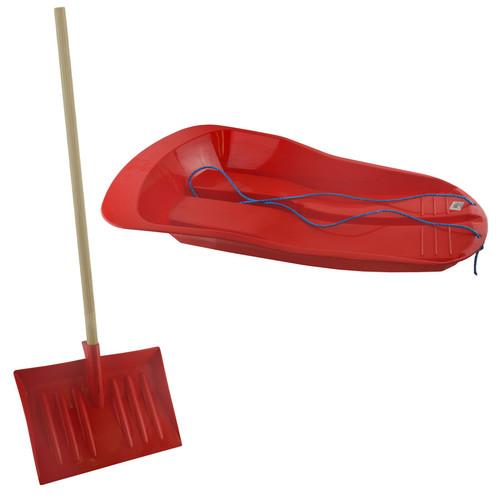 1 Plastic Snow Sledge Toboggan Sleigh And 1 Short Handle Snow Shovel Clearer
