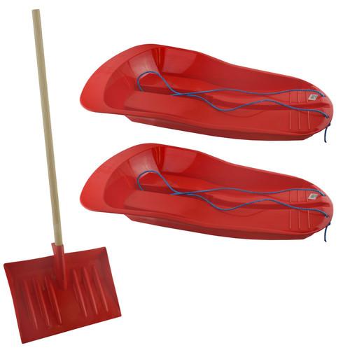 2 Plastic Snow Sledge Toboggan Sleigh And 1 Short Handle Snow Shovel Clearer