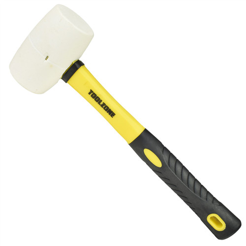 16oz White Rubber Mallet Non Marking Hammer With Fibreglass Handle Shaft
