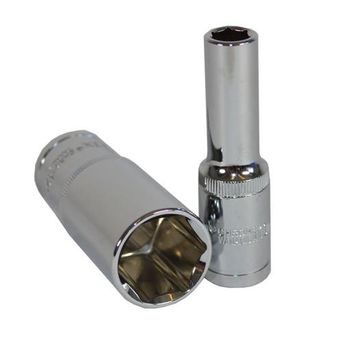 "1/2"" Drive Deep Metric 6-Sided Single Hex Sockets Rail 15pc 10 - 24mm Bergen"