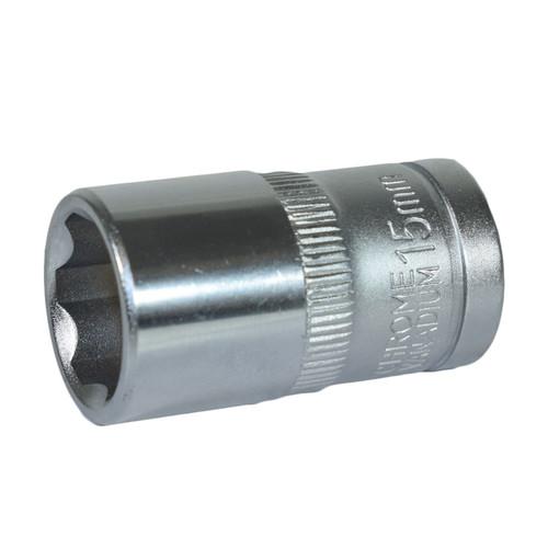 "1/2"" Drive 15mm Metric Super Lock Shallow 6-Sided Single Hex Socket Bergen"