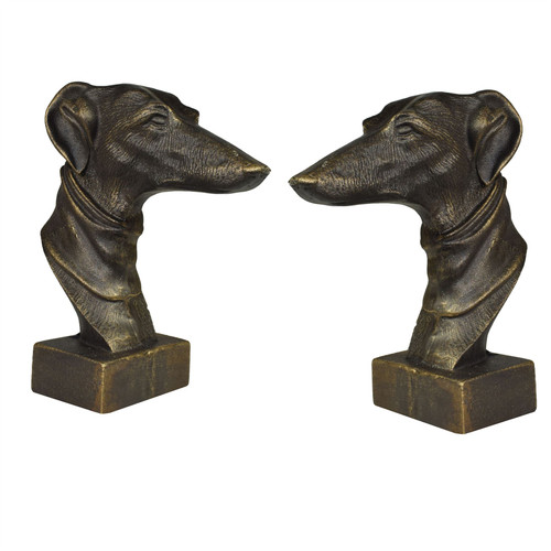 Greyhound Whippet Dog Bust Head Statue Ornament Book End Cast Iron Pair