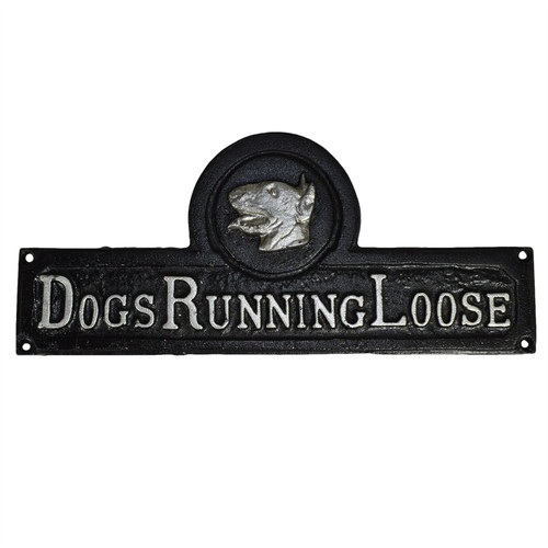 Dogs Running Loose Cast Iron Sign Plaque Wall Fence Gate Post House Dog