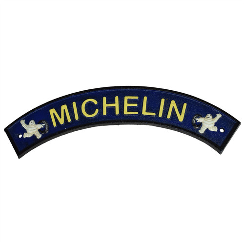 Curved Blue Michelin Man Cast Iron Sign Plaque Door Wall Garage Fence Tyre