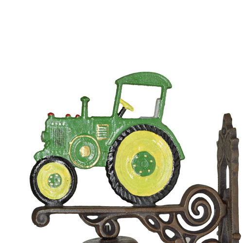 Green Tractor Farm Bell Cast Iron Sign Plaque Door Wall Fence Gate Post House