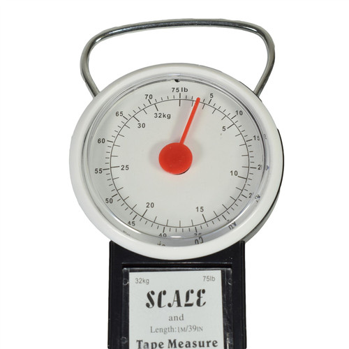 34kg / 75lb Luggage Weighing Scales With 1 Metre Measuring Tape Measure