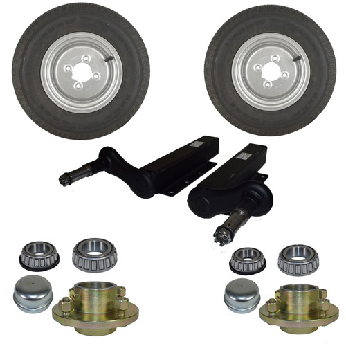 750kg Suspension Units Hubs Mini Wheels Extended Stubs Trailer 23.5mm Offset