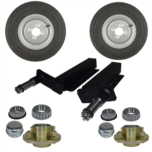 500kg Suspension Units Hubs Mini Wheels Extended Stubs Trailer 23.5mm Offset