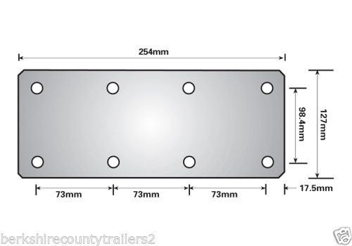 750KG Mounting Plate (Single) 8 Hole Suspension Unit Welding Weld On Plate