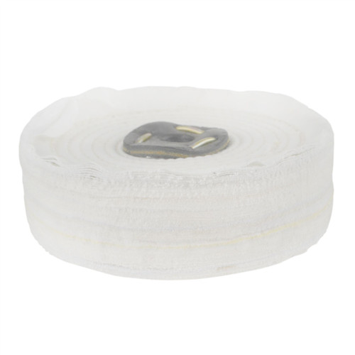 """White Close Stitched Polishing Buffing Mop 6"""" x 1.5"""" 3 Row With Compound 250g"""