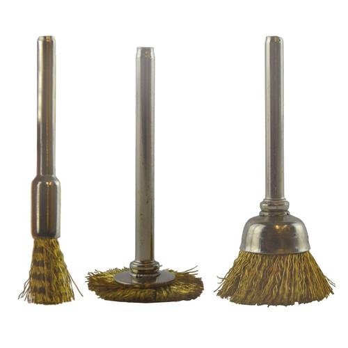 3pc Mini Rotary Brass Brush Metal Cleaning Polishing Set Suitable for Dremel