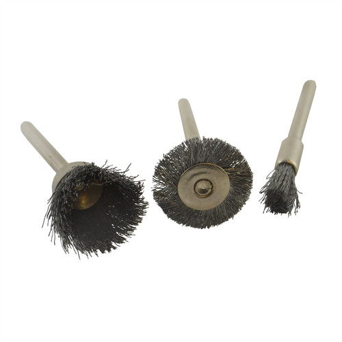 3pc Mini Rotary Steel Brush Metal Cleaning Polishing Set Suitable for Dremel