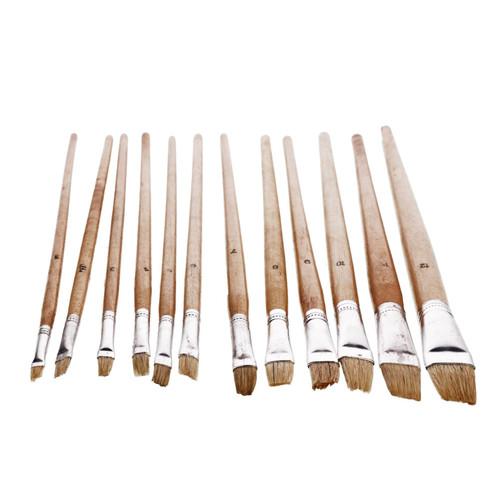 12pc Jumbo Flat Artist Brushes Wooden Handles Paint Brush Model Crafts