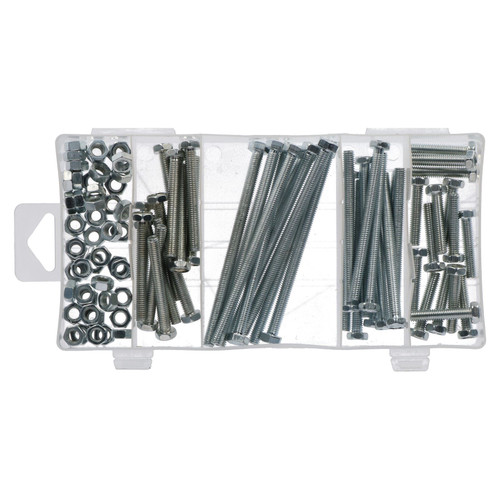 100pc Nut And Bolt Set 6mm Thread (M6 x 1.0) Various Length 30-100mm Bolts