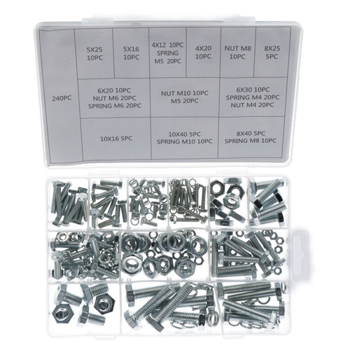 240pc Nuts and Bolts Spring Washers Metric M4 - M10 Hex Head Steel Full Thread