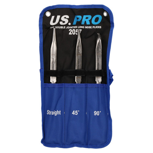 3pc Double Jointed Long Nose Plier Set 340mm Straight 45 90 degree U S Pro