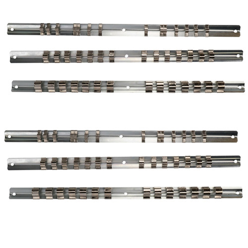 6pc Socket Storage Holder Organiser Rails For 1/4, 3/8 and 1/2 Sockets 84 Clips