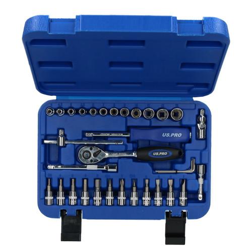 "Metric Superlock Socket And Accessory Set 1/4"" Drive 4 - 13mm 33pc U S Pro"