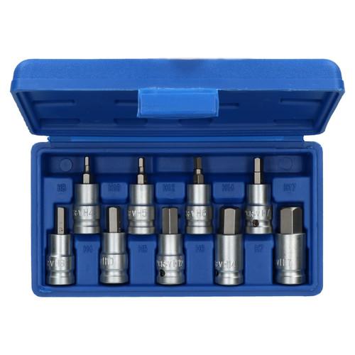 "1/2"" Drive Shallow Metric Hex / Allen Key Bit Socket 4mm - 17mm 9pcs Bergen"
