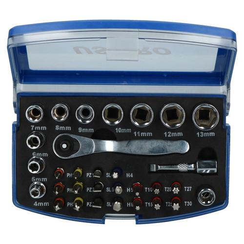 "31pc 1/4"" Drive Metric Socket And Accessory Screwdriver Bit Set 4mm - 13mm"