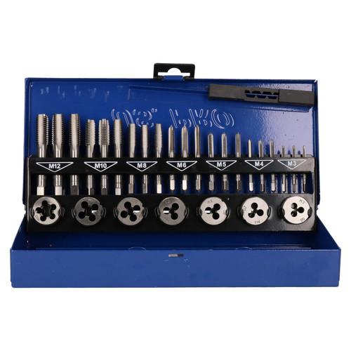 Metric Tap & Die Set M3-M12 1st 2nd & Plug Finishing 32pc US Pro AT607