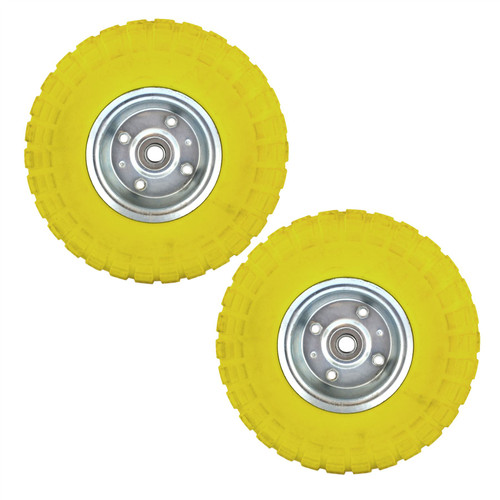 "2 x10"" Solid Rubber Tyre Wheel Foam Filled Sack Truck Trolley Cart AN002_PAIR"
