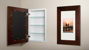 Extra Large Espresso Concealed Cabinet Recessed In Wall