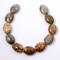 Rocky Butte Jasper Puff Oval Beads
