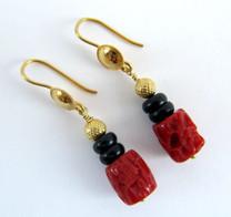 Italian Coral w/Black Agate Earring w/ 18k Gold  CE1