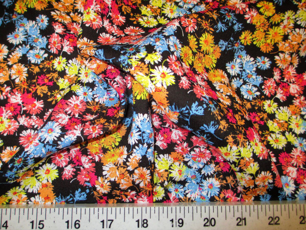 Discount Fabric Challis Rayon Apparel Black Pink Blue Yellow Spring Floral F305