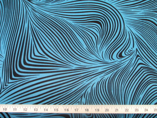 Discount Fabric Printed Jersey Knit ITY Stretch Abstract Zebra Turquoise E200