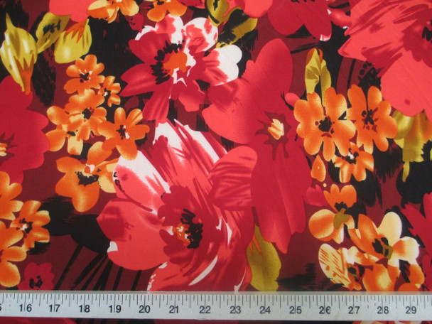 Discount Fabric Printed Jersey Knit ITY Stretch Bold Floral Red Orange B301