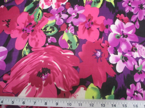 Discount Fabric Printed Jersey Knit ITY Stretch Bold Floral Fuschia Purple B402