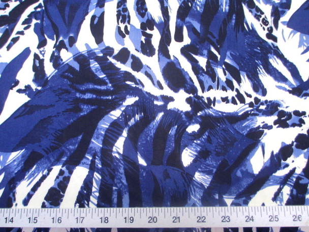 Discount Fabric Printed Jersey Knit ITY Stretch Big Cat Stripe Navy Blue E302