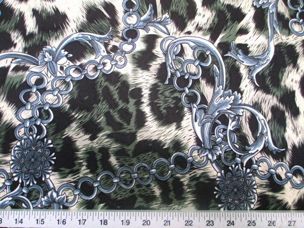 Discount Fabric Printed Jersey Knit ITY Stretch Big Cat Chains Black & Green C200