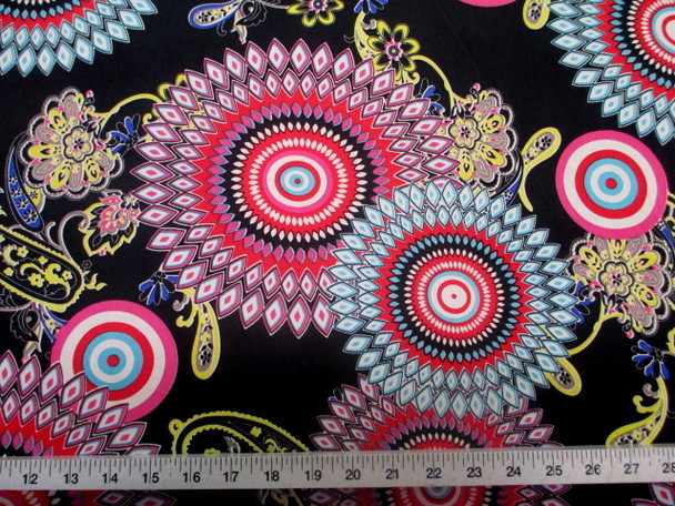 Discount Fabric Printed Jersey Knit ITYStretch Sunflower Pink Yellow and Turquoise D401