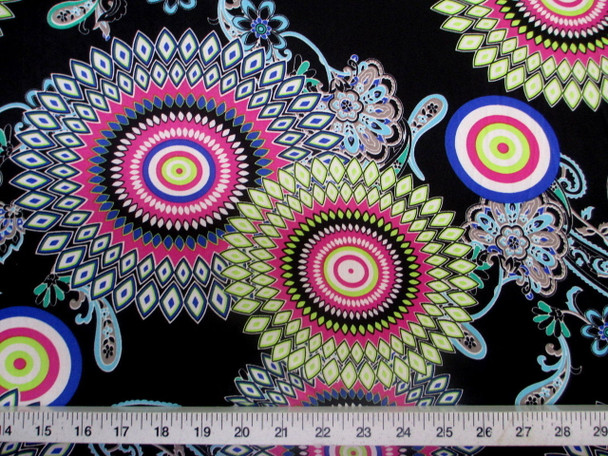 Discount Fabric Printed Jersey Knit ITYStretch Sunflower Lime Pink and Blue D402