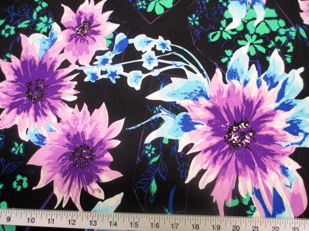 Discount Fabric Printed Jersey Knit ITY Stretch Bold Floral Purple Black C400