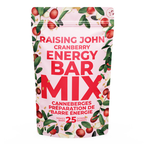 This bar has a light fruity flavour with a delightful crisp.  Enjoy the cost-savings and satisfaction of making your own whole food energy bars in 3 easy steps!  Makes 25 bars Mostly sugar-free* Gluten-free Vegetarian/vegan Mostly organic ingredients  *There is a small amount of sugar added to the cranberries to preserve moisture and freshness. Also, honey is a natural sugar which will be present when added by the customer.