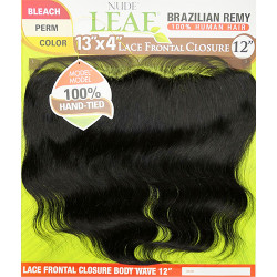 "Model Model Nude Fresh Brazilian Remy 100% Human Hair Lace 13""x4"" Lace Frontal Closure Body Wave 12"""
