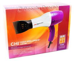 "CHI Deep Brilliance Low EMF Hair Blow Dryer & Titanium 1"" Flat Iron Combo, Purple"