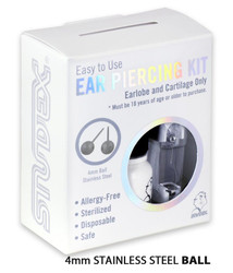 Studex Personal Ear Piercing Kit with 4MM Stainless Steel Earrings