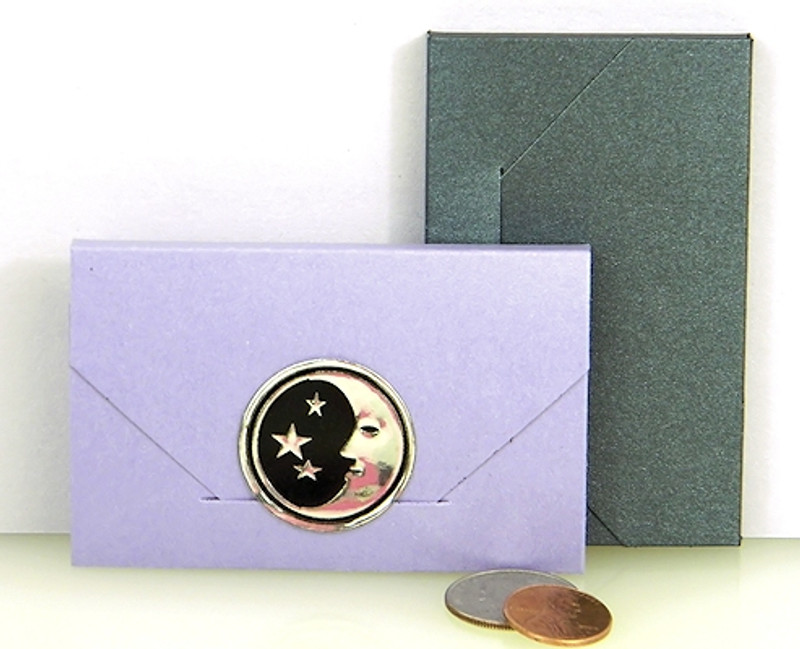 Business Card Boxes showm in Shimmering Amethyst & Shimmering Anthracite. Foil Seal not included.