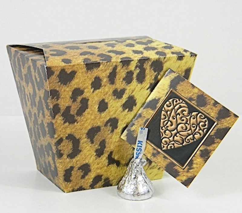 Small Take Out Box shown in Leopard pattern. Tag & Foil Seal not included.