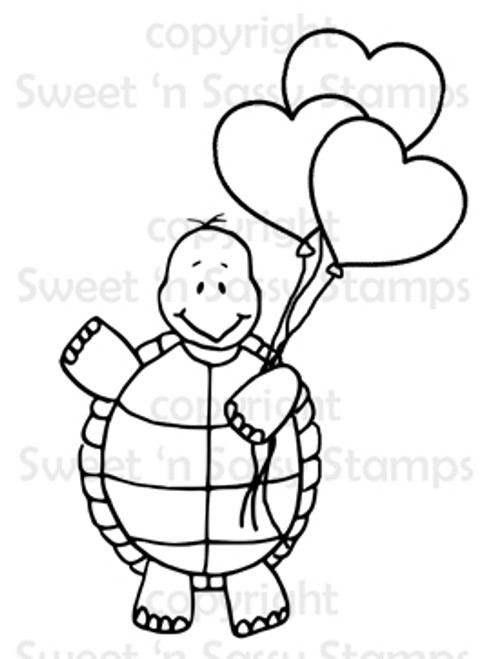 Turtle's Heart Balloons Digital Stamp