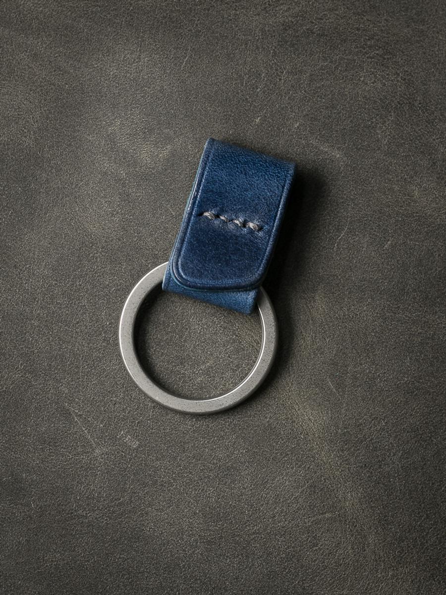 """Guardian"" Blue Handmade Leather Key Fob"