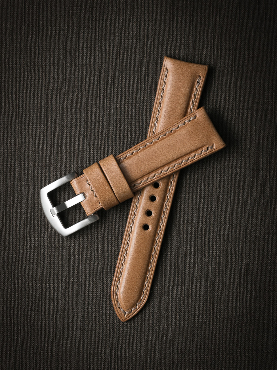 """""""Beaumont"""" Natural Padded Leather Watch Strap"""