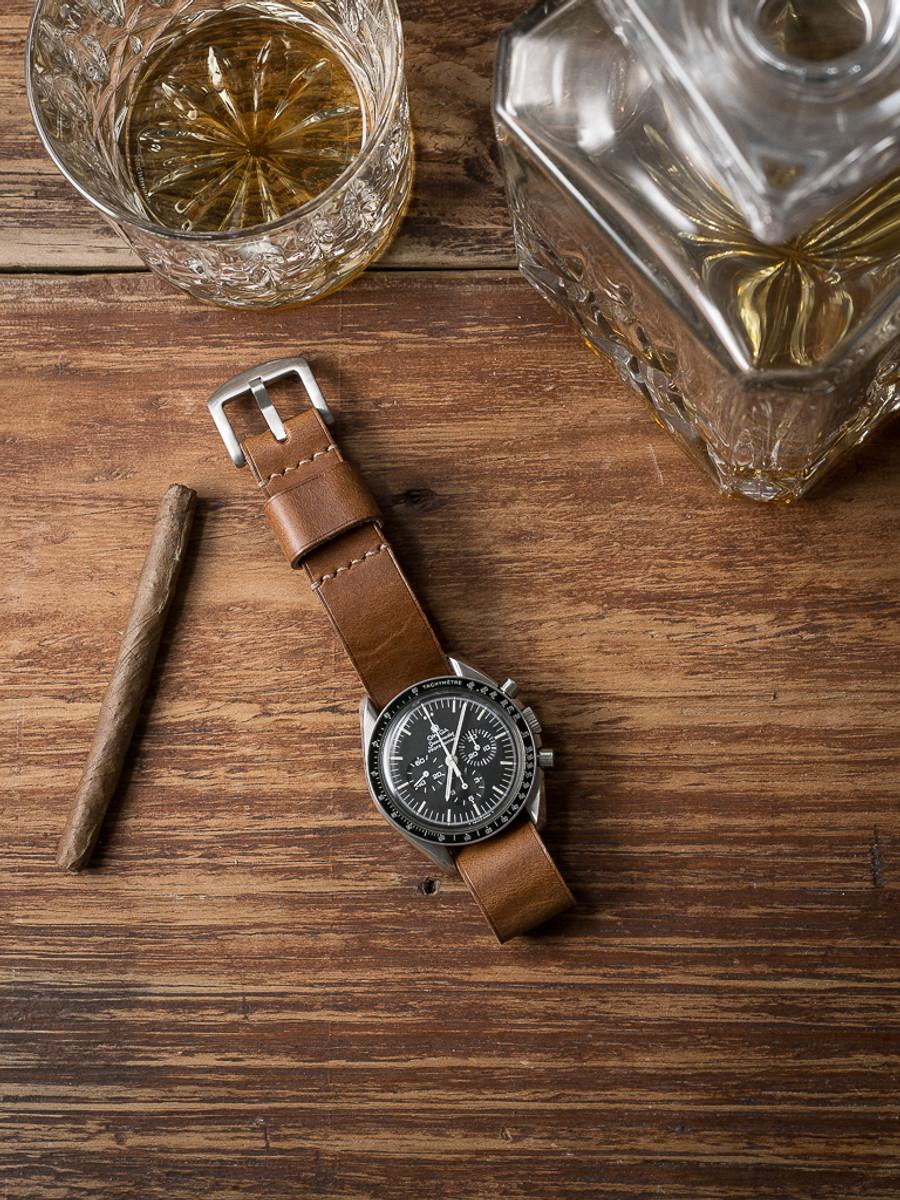 """Scotch"" Whiskey Leather NATO Watch Strap"
