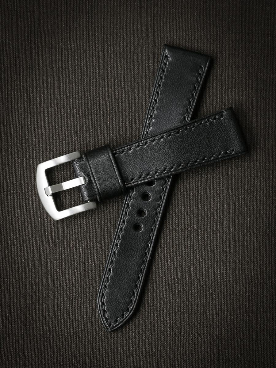 """Tate"" Black Leather Watch Strap"
