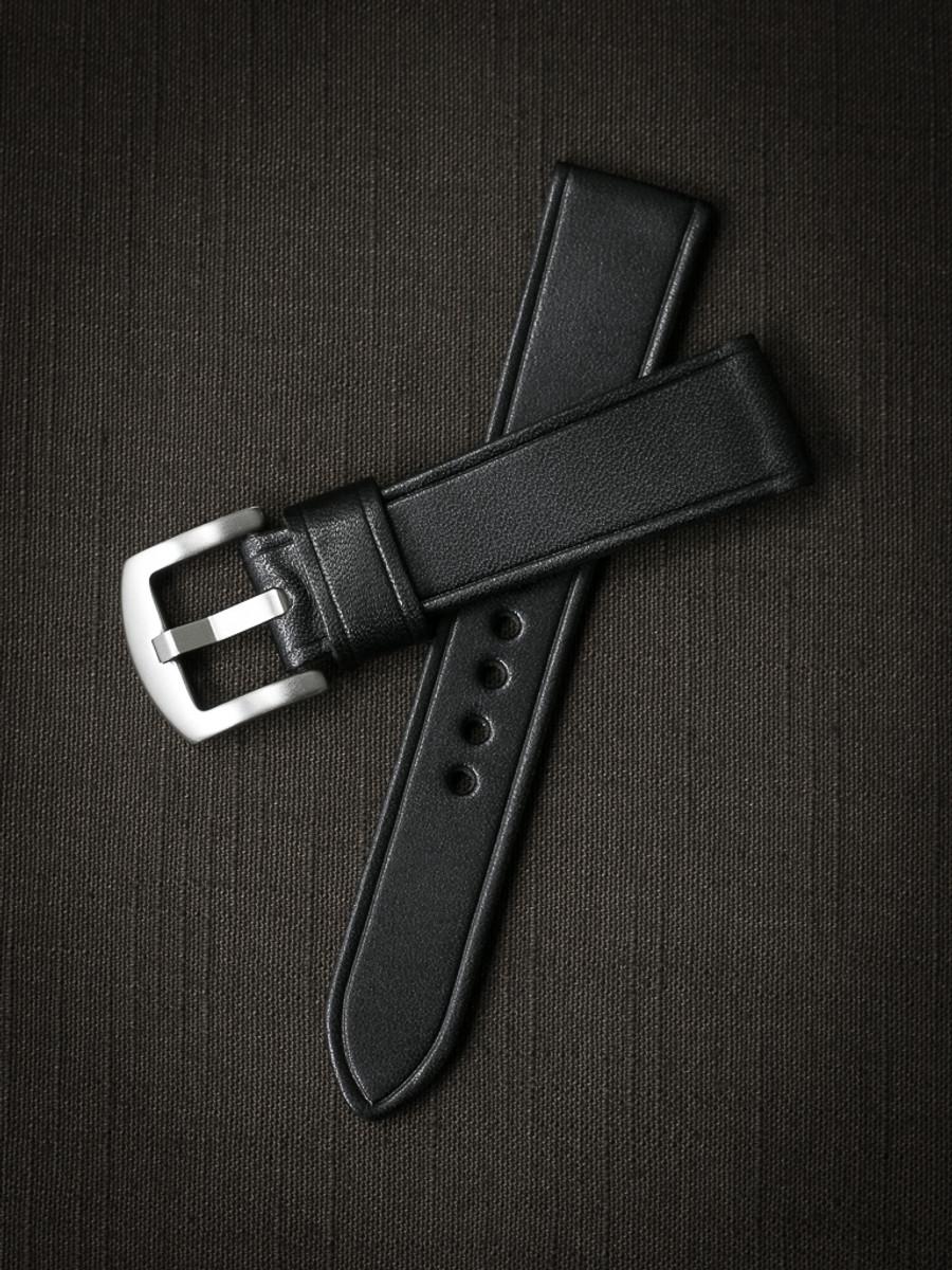 """""""Bowen"""" Black Leather Watch Strap"""